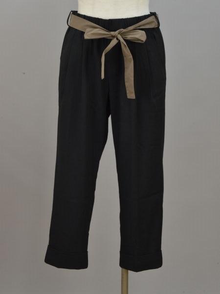 直営店 アイマサイエ Aima+saie ウエストリボン パンツ 2サイズ ブラック 中古:美品 F-M11159 ブランド買取販売トリヴァンドラム 190313 レディース 在庫処分