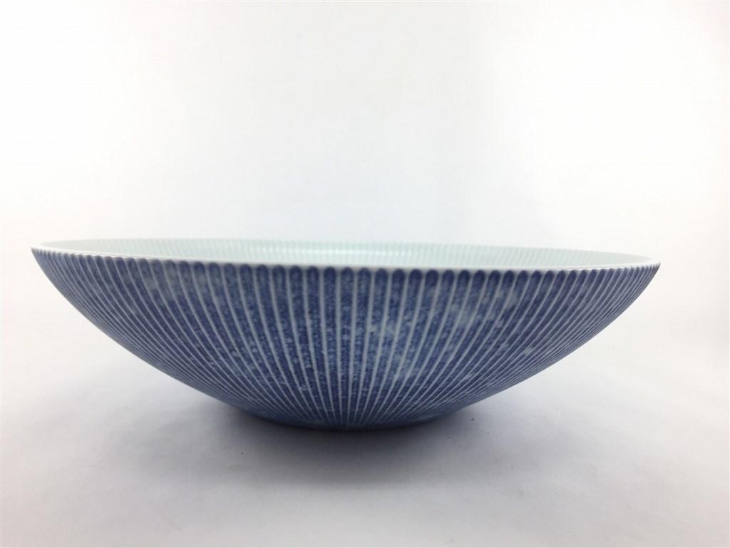 有田焼 李荘窯 コスモスブラスト鎬ボール(M)【ボウル 鉢 23cm 青色 白色】