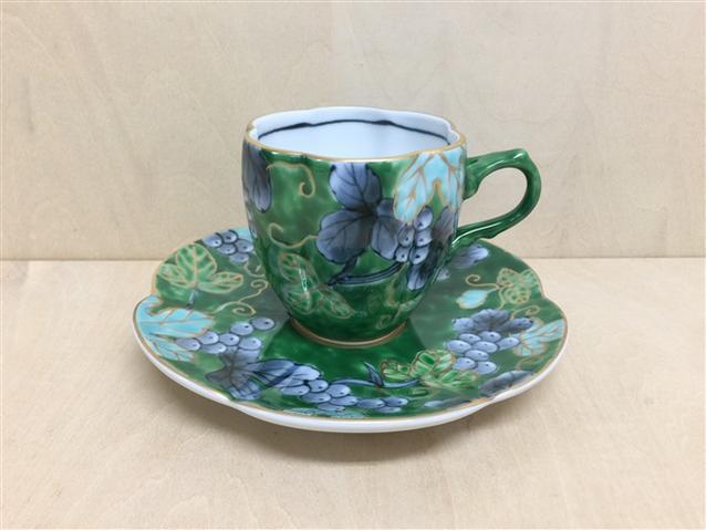 【有田焼 福泉窯】瓜型コーヒー碗皿.染錦ぶどう(緑)