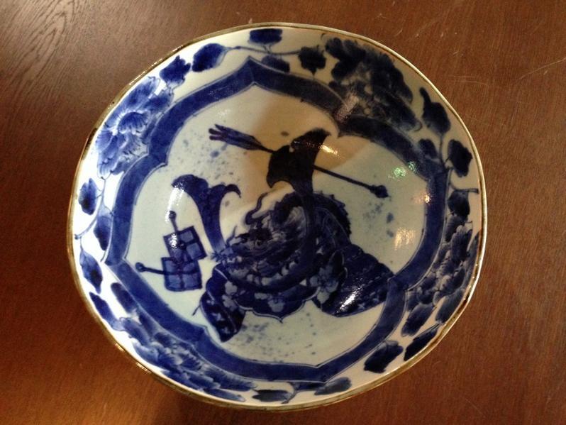 【有田焼 福泉窯】大鉢(藍かぶと絵)