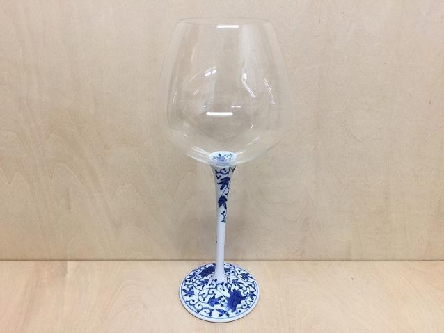 【有田焼 福泉窯】ARITAワイングラス600cc染付華唐草【酒器・ワイン・グラス】【コップ】