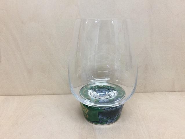 【有田焼 福泉窯】ARITAゆらりグラス 450cc緑葡萄【酒器・ワイン・グラス】【コップ】