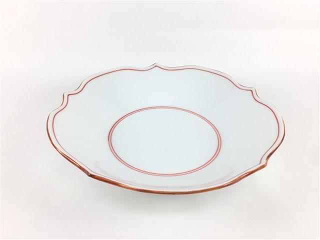 お取り寄せできます 皿 中皿 深皿 おすすめ プレート 和食器 磁器 波佐見焼 花型深皿 渕錆 見込筋 洸琳窯 商品 赤 16.5cm 赤色