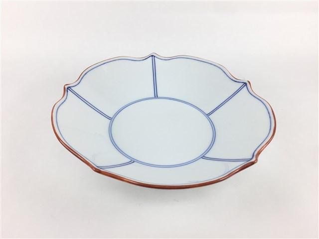 お取り寄せできます 皿 中皿 深皿 舗 プレート 和食器 磁器 波波佐見焼 正規品 渕錆 間取 青色 青 洸琳窯 花型深皿 16.5cm