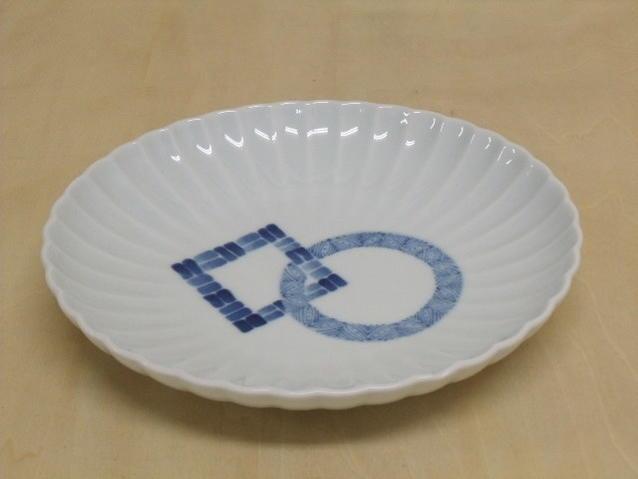 皿 受賞店 高級品 美濃焼 繋ぎ紋 菊楕円皿
