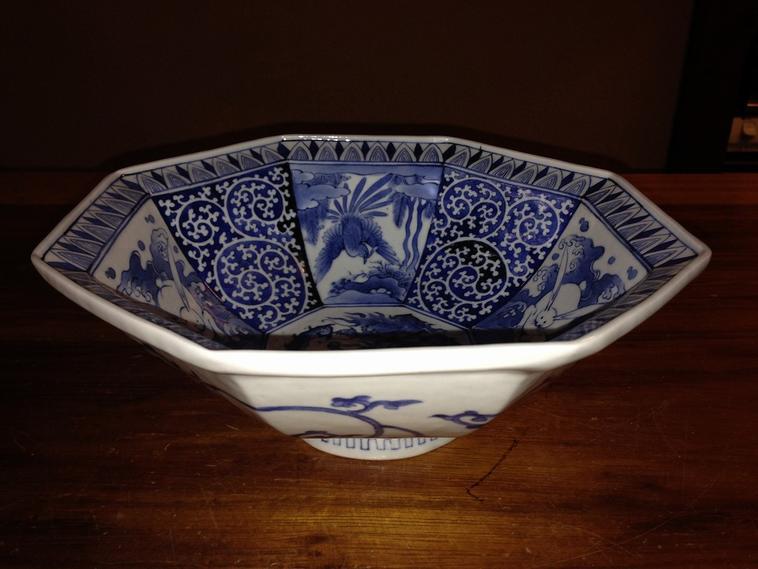 【明治期】【有田焼】藍染付八角九寸鉢
