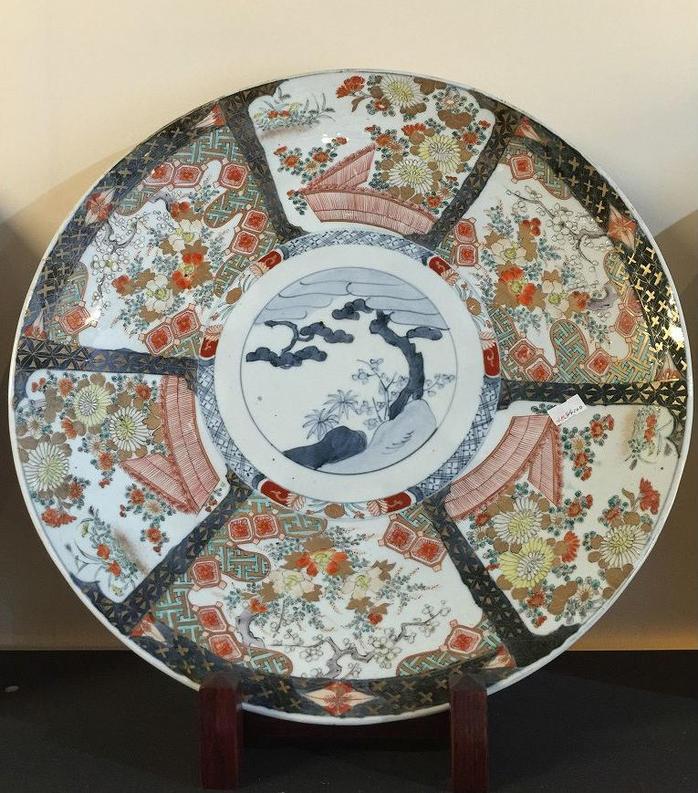 【明治期】【有田焼】染錦間取尺五寸飾り皿