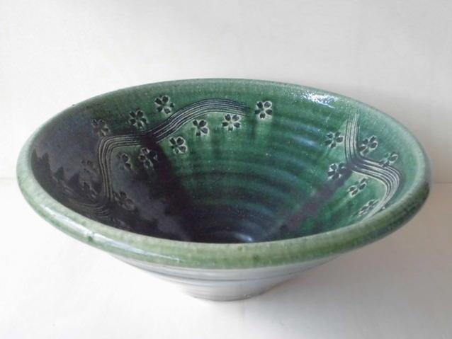 【 美濃焼 伊藤真山窯 】 32cm手洗い鉢.織部彫刻【手洗い鉢・植木鉢・洗面鉢】