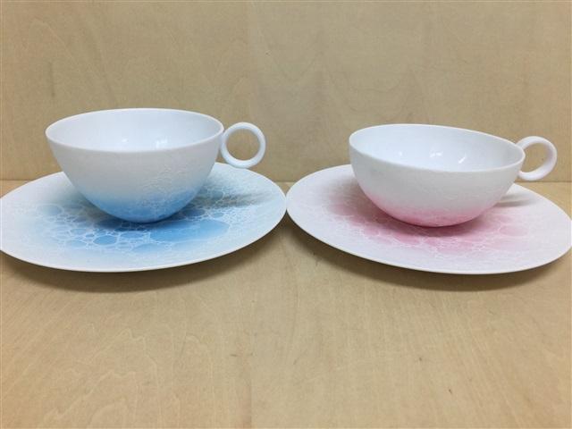 【有田焼 やま平窯】カップソーサー(190cc)エッグシェル(ブルー白泡/ピンク白泡)