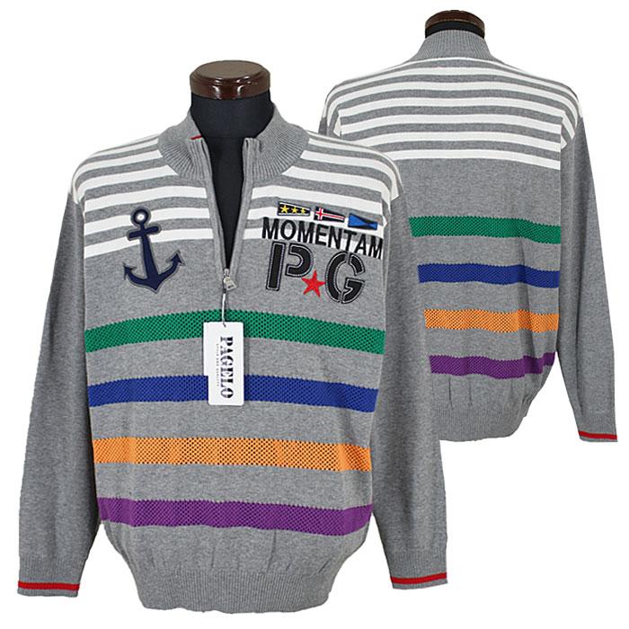 パジェロ■2020春夏■綿ニット ジップアップ セーター(グレー)