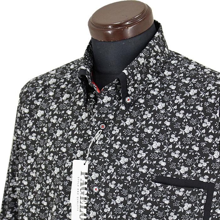 パジェロ■2020春夏■花柄ボタンダウンシャツ(黒)