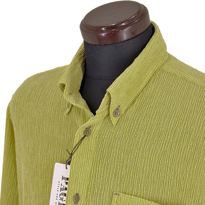 パジェロ■2020春夏■<丈長>楊柳ボタンダウンシャツ(黄緑)日本製
