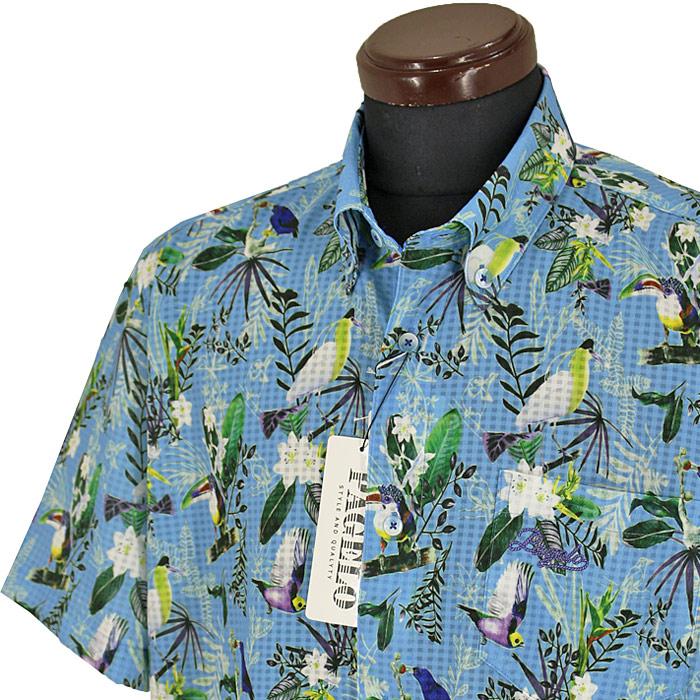 パジェロ■2020春夏■半袖ボタンダウンシャツ(青系)