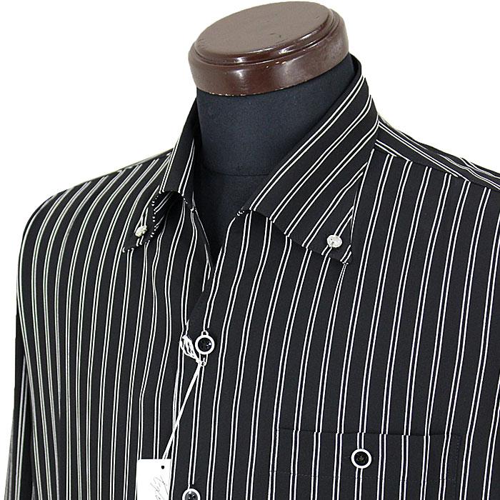 エクセルボントン■2020春夏■イタリアンカラーシャツ(黒)220507-15