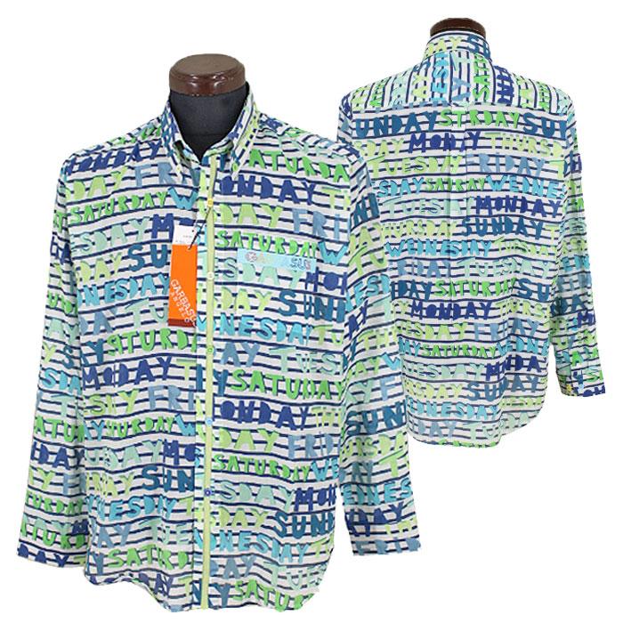 アンジェロ ガルバス■2020春夏■ボタンダウンシャツ(グリーン系)日本製