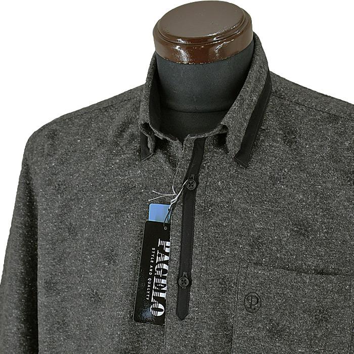 パジェロ■2020秋冬■ネル系ボタンダウンシャツ(ダークグレー)05-1101-17-37