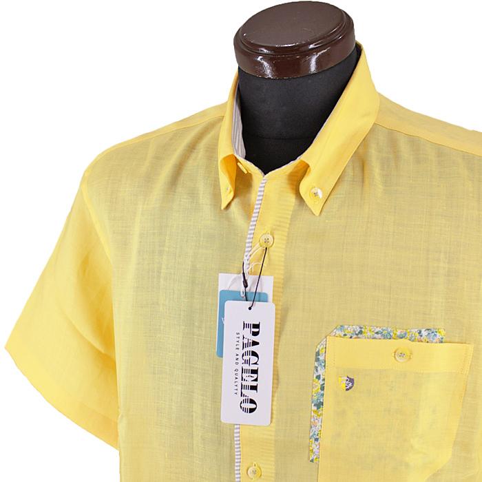 ■■■メーカー取り寄せ商品■■■ 18%OFF パジェロ■2021春夏■半袖麻ボタンダウンシャツ セール品 11-2108-07-93 黄