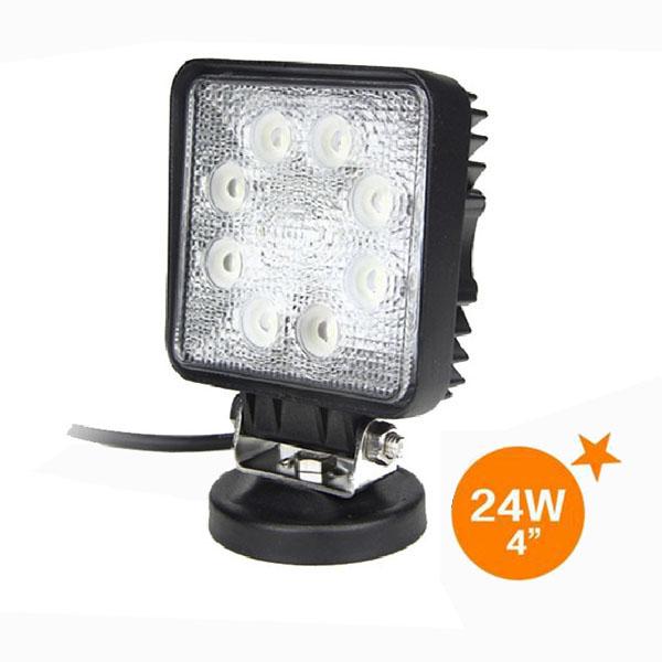 【20個セット】【即日発送・送料無料】高輝度LEDワークライト 24W 8連 5500K-6300K 投光器 作業灯 12/24V対応 広角タイプ 防塵防水仕様 正方形 Flood Light (1428F)