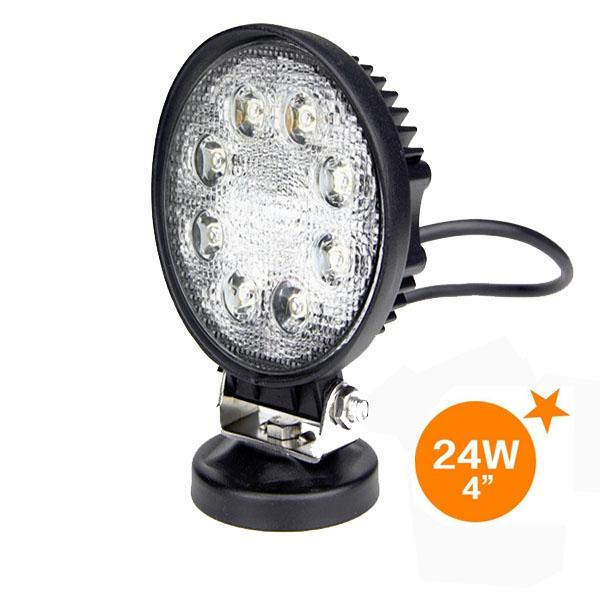 【10個セット】【即日発送・送料無料】高輝度LEDワークライト 24W 8連 5500K-6300K 投光器 作業灯 12/24V対応 広角タイプ 防塵防水仕様 円形 Flood Light (2428F)