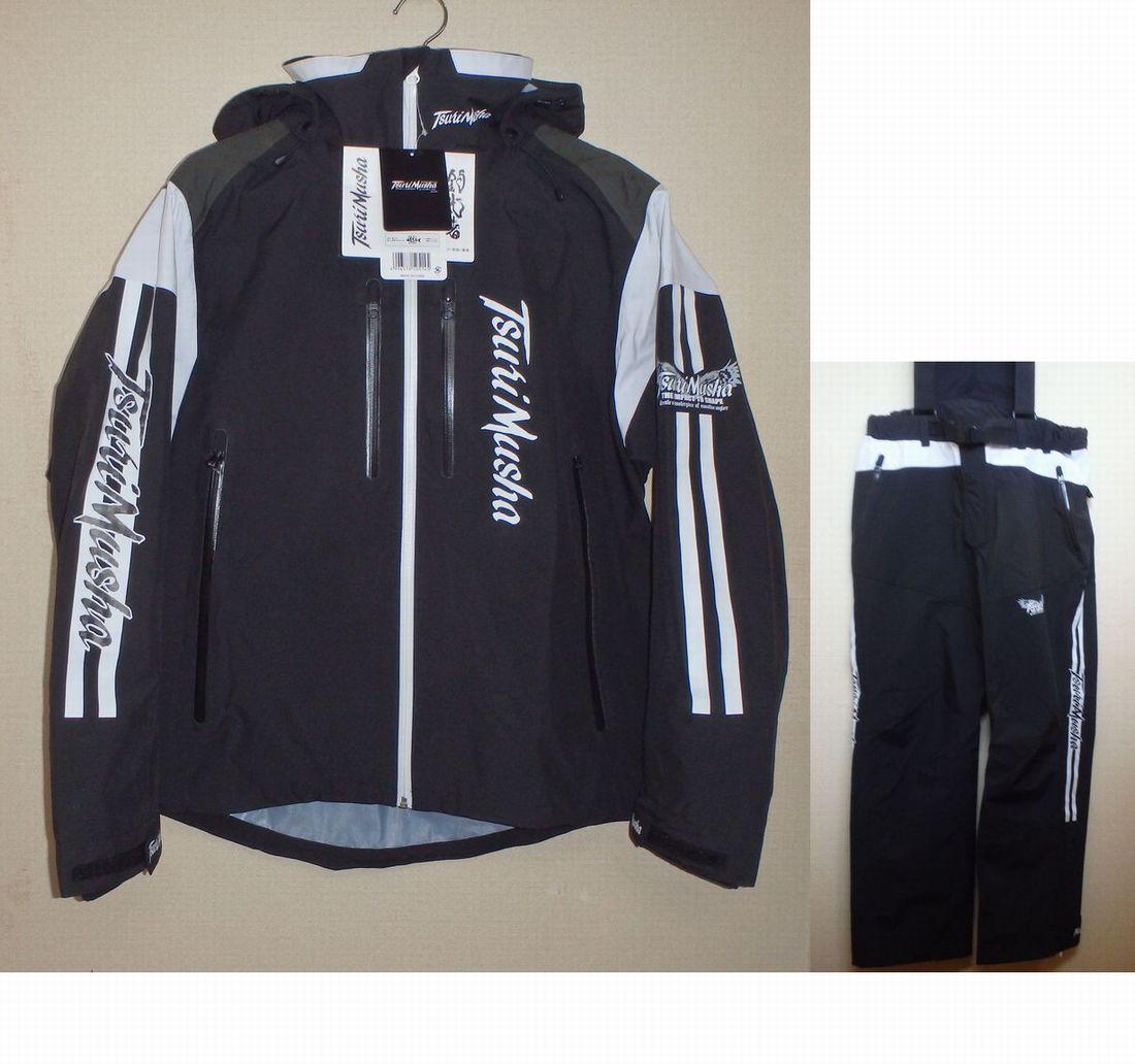 釣武者 防水透湿レインスーツ 3レイヤーサプトルストレッチスーツ ブラック/ホワイト 32,000円 (防水透湿、釣り、磯釣り、ウェア、レイン透湿、釣り、磯釣り、ウェア