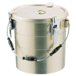 アルマイト丸型二重クリップ付食缶(シリコンパッキン付・にぎり3ヶ付・中蓋なし) 238-A 10L