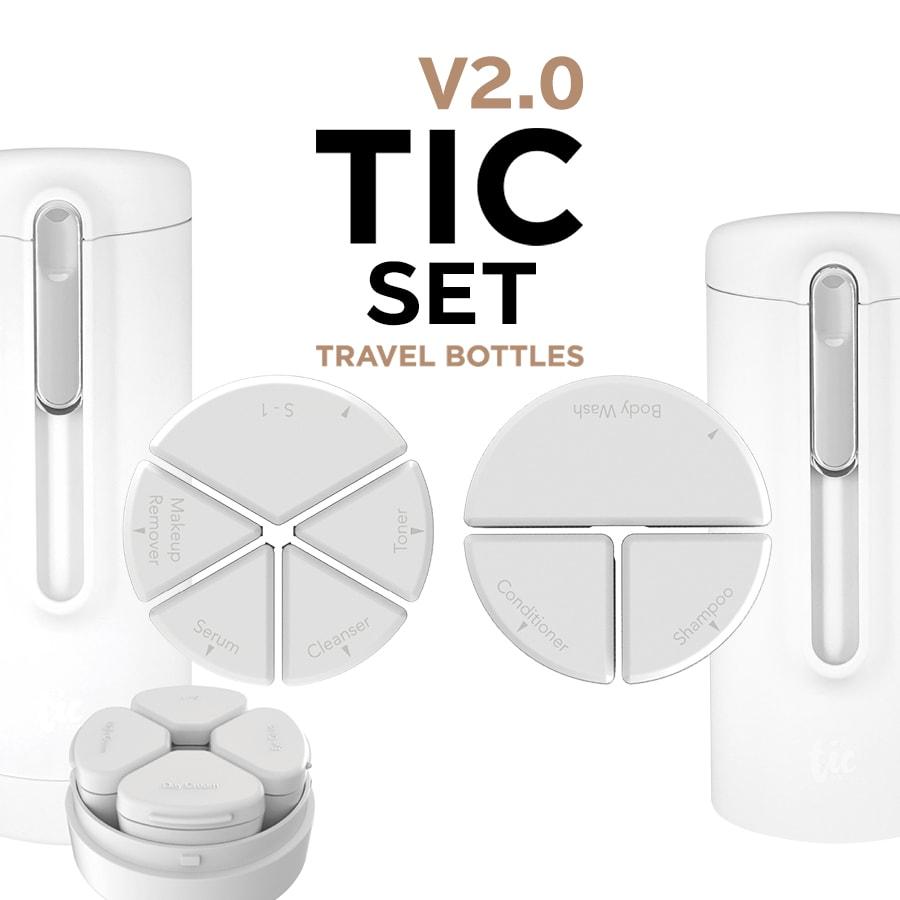 TIC新デザイン第2弾 お買い物マラソン トラベルボトル TIC SKIN 買い取り SHOWER 正規取扱店 V2.0 クリームをひとまとめ シャンプーや化粧水 BOTTLE スキン2個セット シャワー