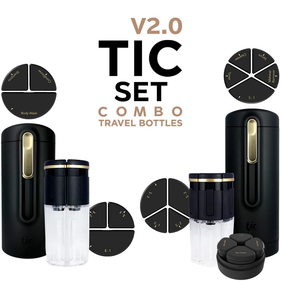 トラベルボトル豪華版 TIC SKIN&SHOWER BOTTLE COMBO V2.0(シャワー+スキン用コンボ全部セット)[日本総代理店] シャンプーや化粧水・クリームをひとまとめ!