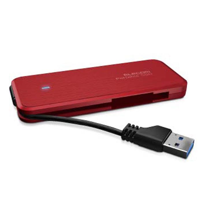 外付けSSD / ポータブル / ケーブル収納対応 / USB3.1(Gen1)対応 / 480GB / レッド SSD・512GB エレコム ELECOM ESD-EC0480GRD