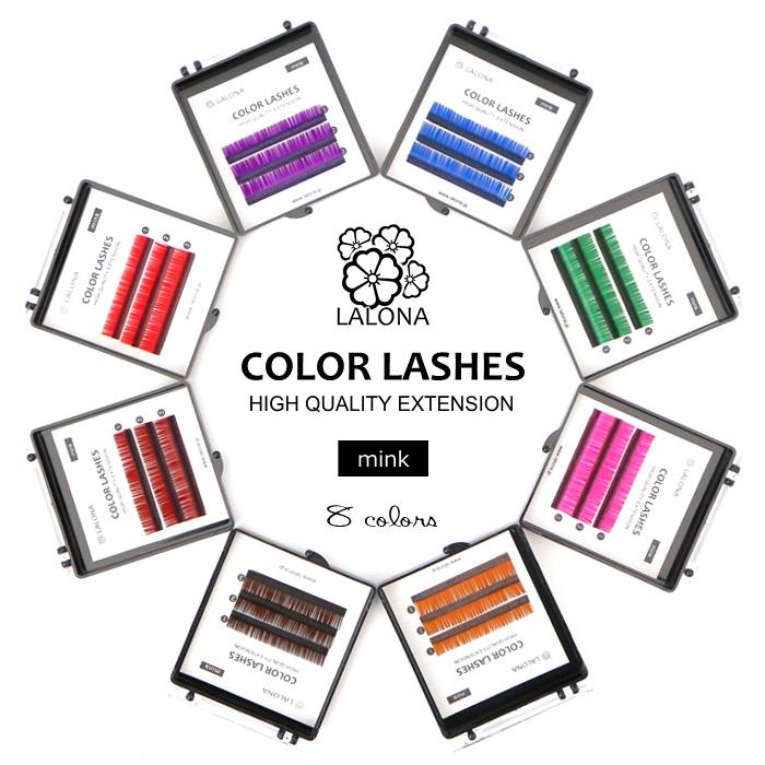 綺麗な発色で柔らかい メール便対応 新発売 メーカー在庫限り品 LALONA ラローナ カラーラッシュ 3列 全8色 まつエク ライトブラウン まつげエクステ マットカラー MIX 長さミックス カラーエクステ