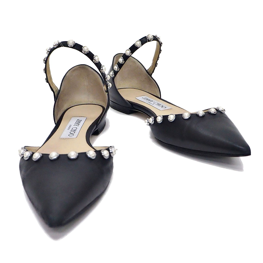 ジミーチュウ JIMMY CHOO 靴 LEEMA フラットシューズ パンプス ブラック レザー 37.5 24.5cm レディース【中古】【ランクB】
