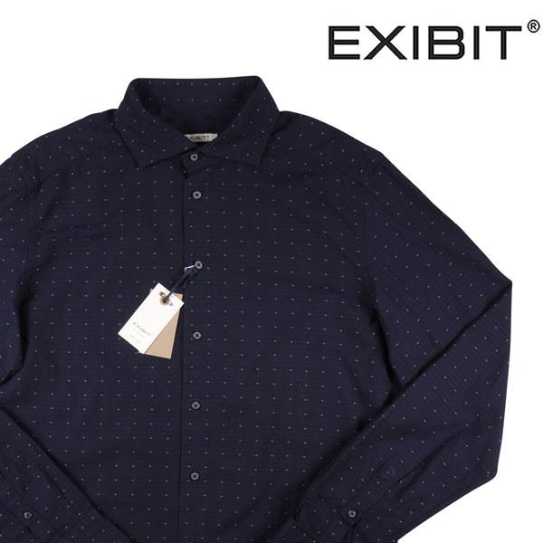 【L】 EXIBIT エグジビット 長袖シャツ メンズ 水玉 ネイビー 紺 並行輸入品 メンズファッション 男性用 ビジネス カジュアルシャツ 日本未入荷 ラッピング無料 送料無料
