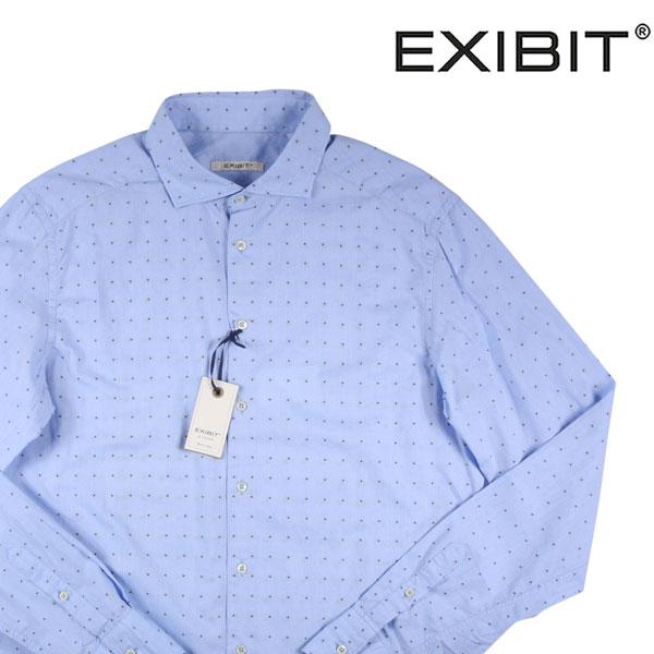 【XL】 EXIBIT エグジビット 長袖シャツ メンズ 水玉 ブルー 青 並行輸入品 メンズファッション 男性用 ビジネス カジュアルシャツ 日本未入荷 ラッピング無料 送料無料