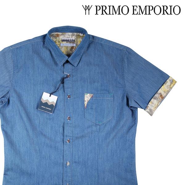 【L】 PRIMO EMPORIO プリモエンポリオ 半袖シャツ メンズ 春夏 ブルー 青 並行輸入品 メンズファッション 男性用 ビジネス カジュアルシャツ 日本未入荷 ラッピング無料 送料無料