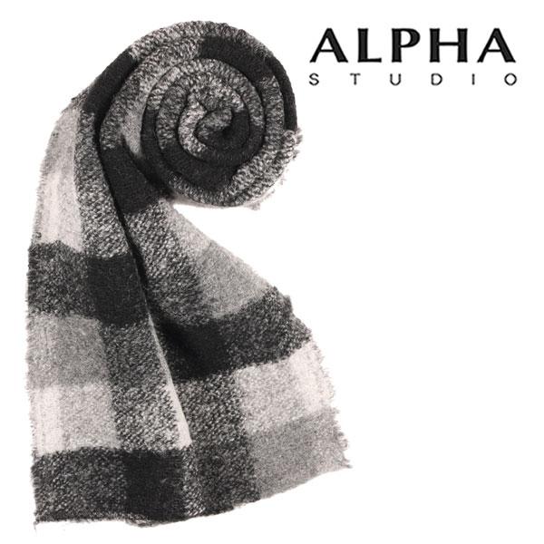 ALPHA STUDIO アルファ・ステューディオ マフラー メンズ 秋冬 グレー 灰色 並行輸入品 メンズファッション 男性用 ビジネス 日本未入荷 ラッピング無料 送料無料