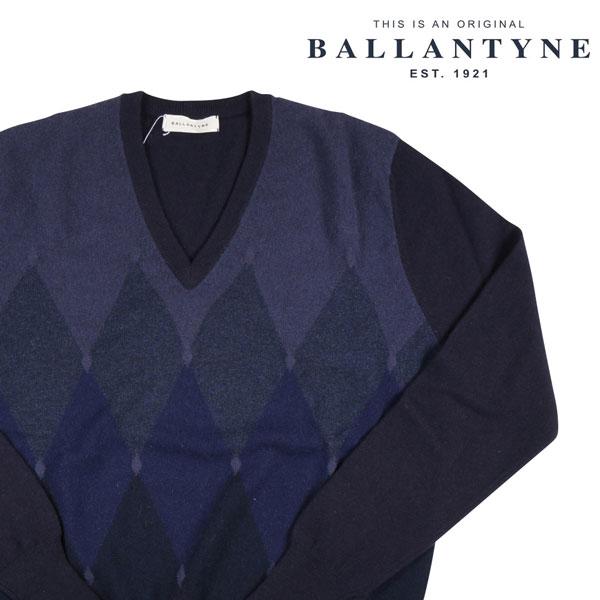 【48】 BALLANTYNE バランタイン Vネックセーター B2P010 メンズ 秋冬 カシミヤ100% ネイビー 紺 並行輸入品 メンズファッション 男性用 ビジネス ニット 日本未入荷 ラッピング無料 送料無料