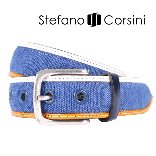 Stefano Corsini ステファノ・コルシーニ ベルト メンズ ブルー 青 並行輸入品 メンズファッション 男性用 ビジネス 日本未入荷 ラッピング無料 送料無料
