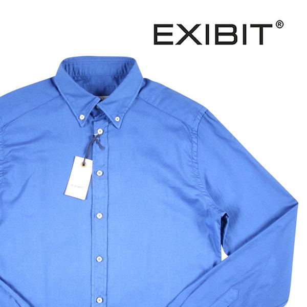 【S】 EXIBIT エグジビット 長袖シャツ メンズ ブルー 青 並行輸入品 メンズファッション 男性用 ビジネス カジュアルシャツ 日本未入荷 ラッピング無料 送料無料