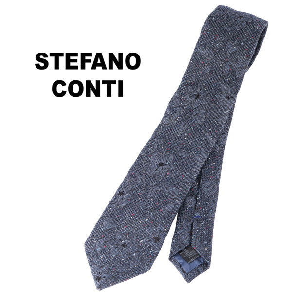 stefano conti ステファノ・コンティ ネクタイ メンズ 花柄 ネイビー 紺 並行輸入品 メンズファッション 男性用 ビジネス 日本未入荷 ラッピング無料 送料無料