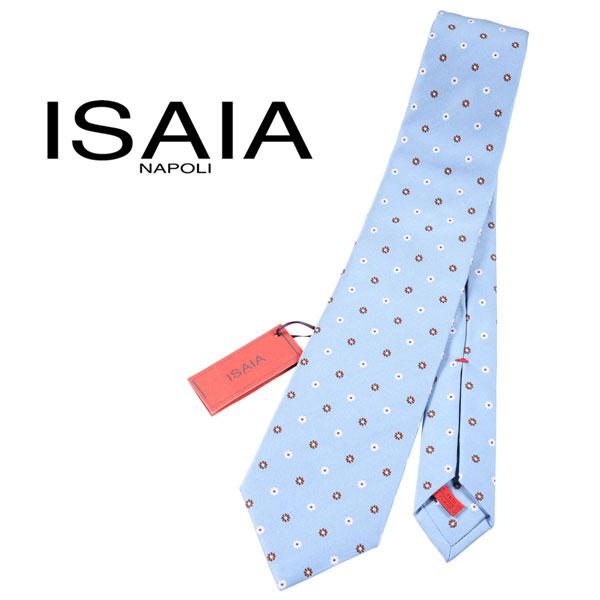 ISAIA イザイア ネクタイ メンズ シルク100% 花柄 ブルー 青 並行輸入品 メンズファッション 男性用 ビジネス 日本未入荷 ラッピング無料 送料無料