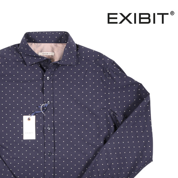【XL】 EXIBIT エグジビット 長袖シャツ メンズ 刺繍 ネイビー 紺 並行輸入品 メンズファッション 男性用 ビジネス カジュアルシャツ 日本未入荷 ラッピング無料 送料無料