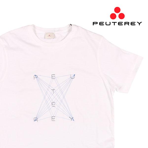 【L】 PEUTEREY ピューテリー Uネック半袖Tシャツ UBANI C メンズ 春夏 ホワイト 白 並行輸入品 メンズファッション 男性用 ビジネス トップス 日本未入荷 ラッピング無料 送料無料