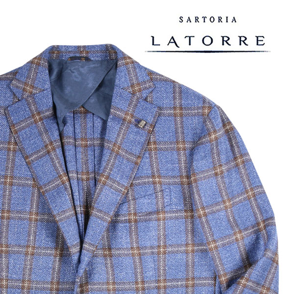 【54】 Sartoria Latorre サルトリア・ラトーレ ジャケット メンズ シルク混 チェック ブルー 青 並行輸入品 メンズファッション 男性用 ビジネス アウター トップス 大きいサイズ 日本未入荷 ラッピング無料 送料無料