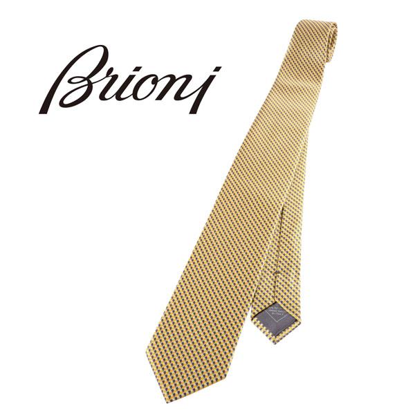Brioni ブリオーニ ネクタイ メンズ シルク100% 幾何柄 イエロー 黄 並行輸入品 メンズファッション 男性用 ビジネス 日本未入荷 ラッピング無料 送料無料