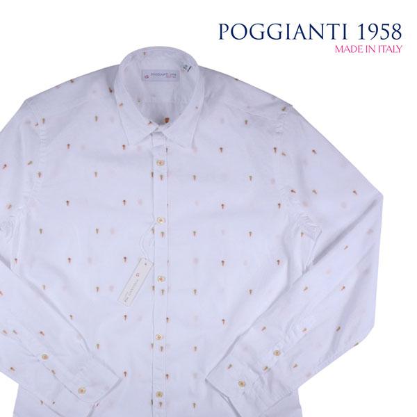 【42】 POGGIANTI 1958 ポジャンティ 1958 長袖シャツ メンズ 刺繍 ホワイト 白 並行輸入品 メンズファッション 男性用 ビジネス カジュアルシャツ 大きいサイズ 日本未入荷 ラッピング無料 送料無料