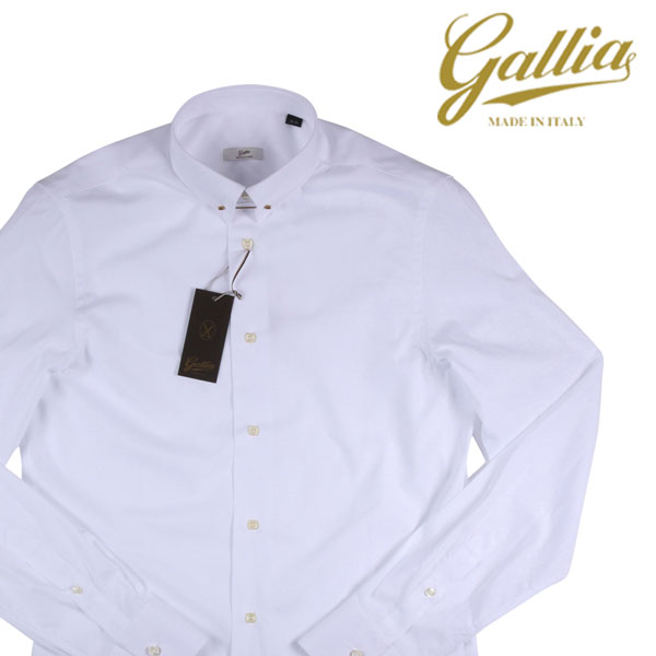 【42】 Gallia ガリア 長袖シャツ メンズ ホワイト 白 並行輸入品 メンズファッション 男性用 ビジネス ビジネスシャツ 大きいサイズ 日本未入荷 ラッピング無料 送料無料