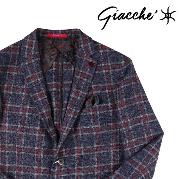 【52】 GIACCHE ジャッケ ジャケット メンズ 秋冬 チェック ネイビー 紺 並行輸入品 メンズファッション 男性用 ビジネス アウター トップス 大きいサイズ 日本未入荷 ラッピング無料 送料無料