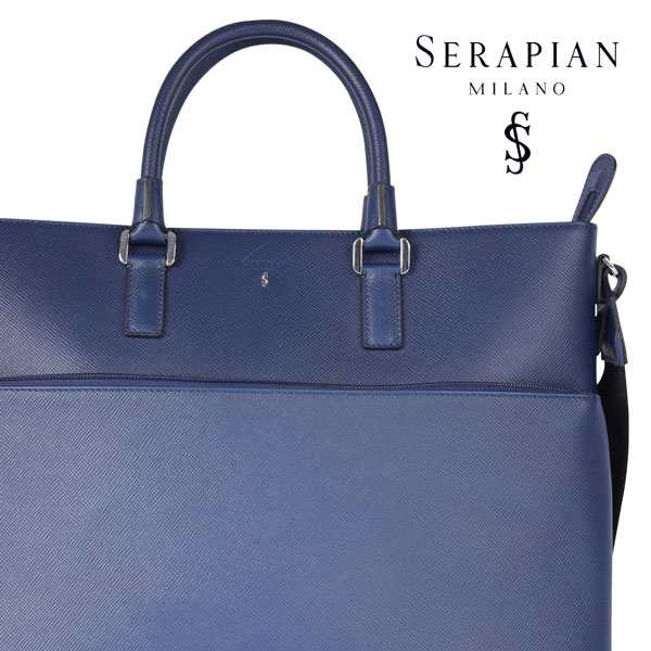 SERAPIAN セラピアン ブリーフケース メンズ ブルー 青 レザー 並行輸入品 メンズファッション 男性用 ビジネス 日本未入荷 ラッピング無料 送料無料