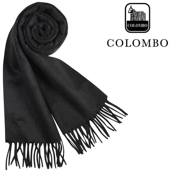 COLOMBO コロンボ マフラー メンズ 秋冬 カシミヤ100% ブラック 黒 並行輸入品 メンズファッション 男性用 ビジネス 日本未入荷 ラッピング無料 送料無料