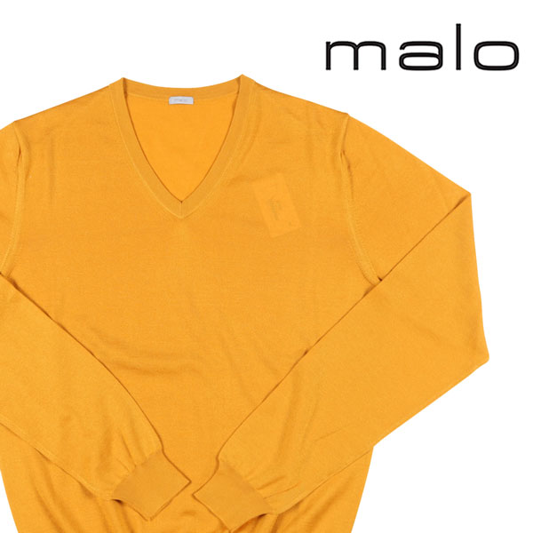 【48】 malo マーロ Vネックセーター メンズ カシミヤxシルク混 イエロー 黄 並行輸入品 メンズファッション 男性用 ビジネス ニット 日本未入荷 ラッピング無料 送料無料