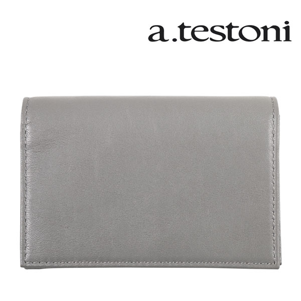 a.testoni ア・テストーニ 名刺入れ メンズ グレー 灰色 レザー 並行輸入品 メンズファッション 男性用 ビジネス 日本未入荷 ラッピング無料 送料無料